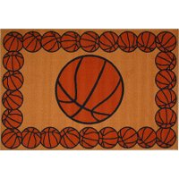 3 x 5 Small Basketball Time Orange Area Rug - Fun Time