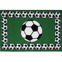 3 x 5 Small Soccer Time Green, Black & White Area Rug - Fun Time