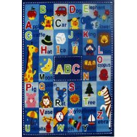 3 x 5 Small Letters and Names Blue Rug - Fun Time