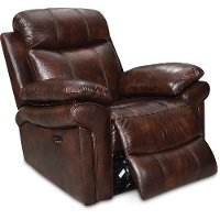 1555-EH2117-011081LV Joplin Brown Leather-Match Power Recliner - Shae