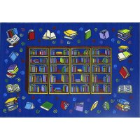 4 x 6 Small Reading Time Blue Rug - Fun Time