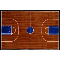 3 x 5 Small Basketball Court Orange and Blue Rug - Fun Time