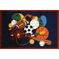 3 x 5 Small Sports America Multi-Color Area Rug - Fun Time