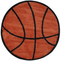 3' Round Orange & Black Basketball Rug - Fun Time Shape