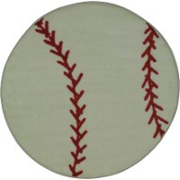 3' Round Red & White Baseball Rug - Fun Time Shape