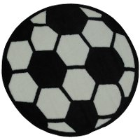 3' Round Black and White Soccer Ball Rug - Fun Time Shape