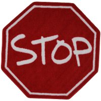 39 Inch Hexagon Stop Sign Red Area Rug - Fun Time