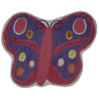 2 x 3 X-Small Pink and Purple Butterfly Area Rug - Fun Time Shape