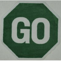 39 Inch Hexagon Go Sign Green Area Rug - Fun Time