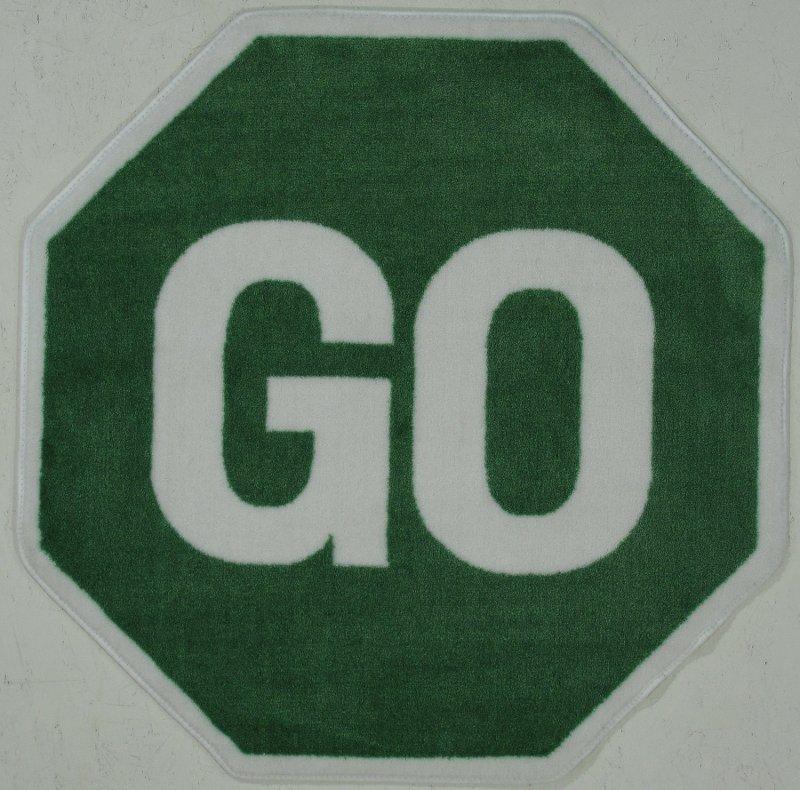 39 Inch Hexagon Go Sign Green Area Rug Fun Time