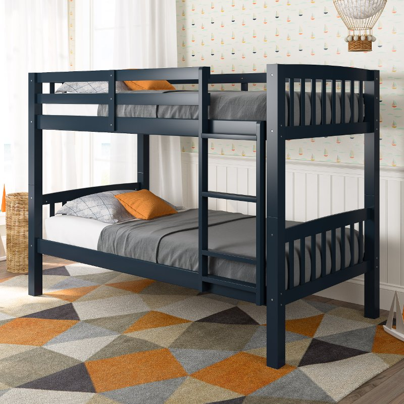 Navy Blue Twin Over Twin Bunk Bed Dakota Rc Willey Furniture Store