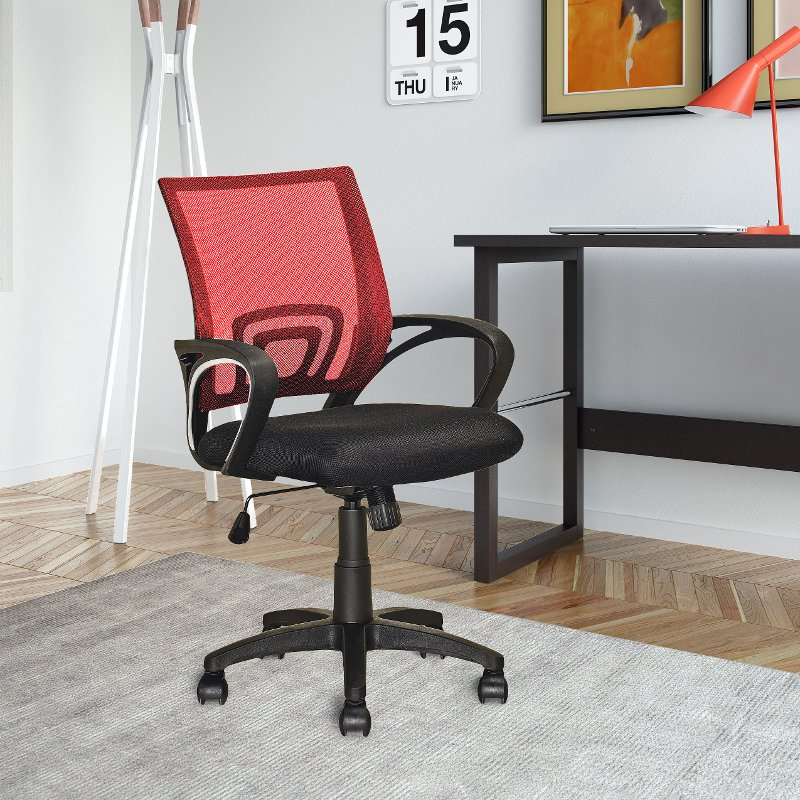 Red And Black Mesh Office Chair Worke