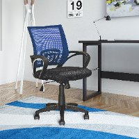 Navy Blue and Black Mesh Office Chair - Workspace