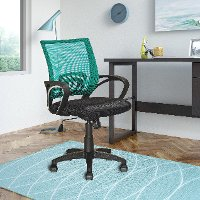 Teal and Black Mesh Office Chair - Workspace
