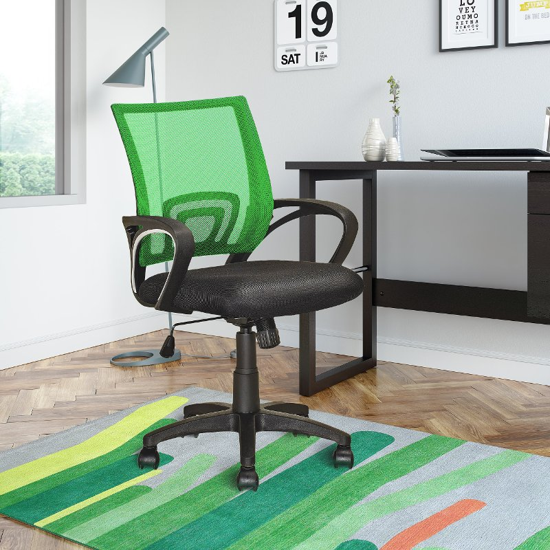 Light Green and Black Mesh Office Chair - Workspace