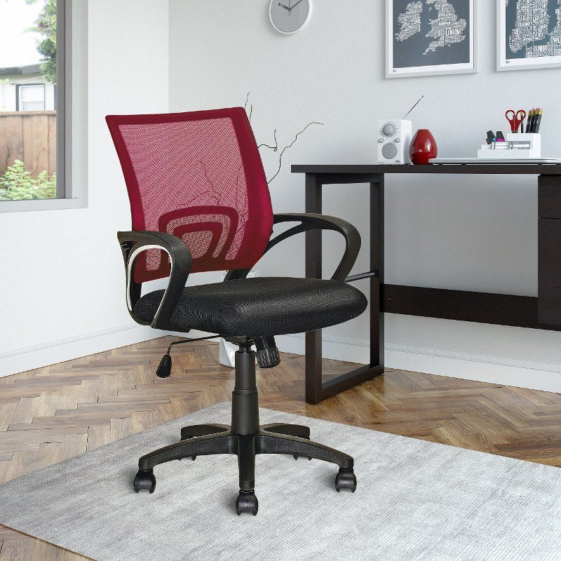 Maroon and Black Mesh Office Chair - Workspace