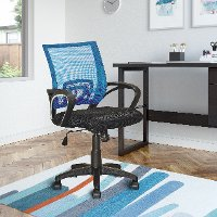 Blue and Black Mesh Office Chair - Workspace