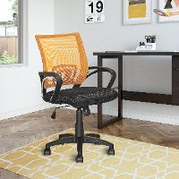 Orange and Black Mesh Office Chair - Workspace