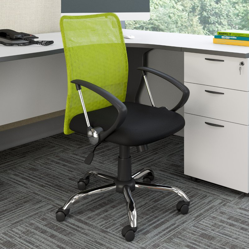 Lime Green And Black Mesh Office Chair Worke