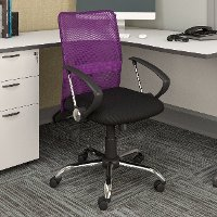 Purple and Black Mesh Office Chair - Workspace