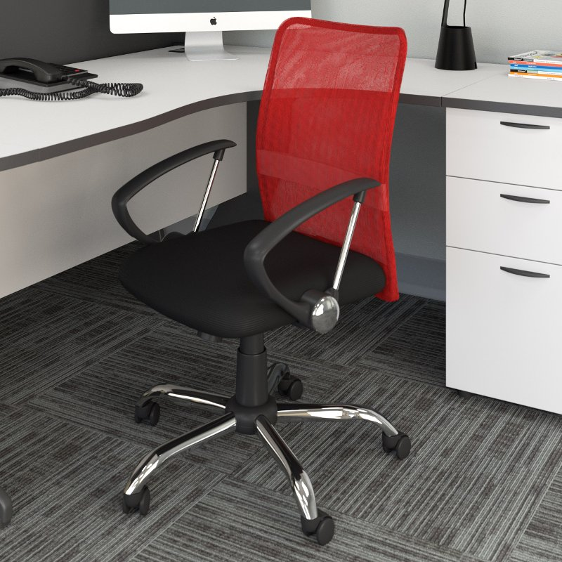 Red and Black Mesh Office Chair - Workspace