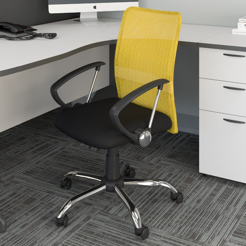 Yellow and Black Mesh Office Chair - Workspace