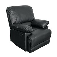 Black Bonded Leather Recliner - Lea
