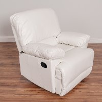 White Bonded Leather Recliner - Lea