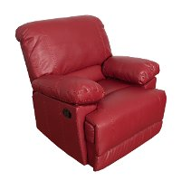 Red Bonded Leather Recliner - Lea