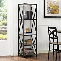 Metal & Driftwood 5-Shelf Bookshelf (61 Inch)