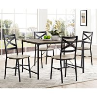 Angle Iron Wood 5 Piece Dining Set
