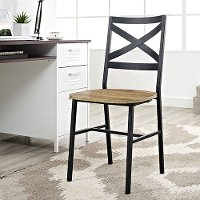Metal X-Back Wood Seat Dining Chair Pair