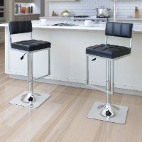 Black/ Chrome Adjustable Bar Stool (Set of 2) - Chez