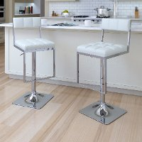 White/ Chrome Adjustable Bar Stool (Set of 2) - Chez