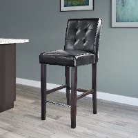 Black Bonded Leather Bar Stool - Antonio