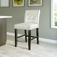 Cream Bonded Leather Counter Stool - Antonio