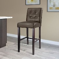 Dark Brown Bonded Leather Bar Stool - Antonio