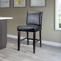 Black Bonded Leather Counter Height Stool - Antonio