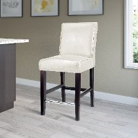White Bonded Leather Counter Height Stool - Antonio