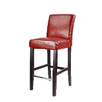Red Bonded Leather Bar Stool - Antonio