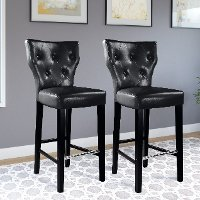 Black Bonded Leather Bar Stool (Set of 2) - Kings