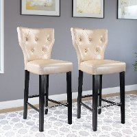 Cream Bonded Leather Bar Stool (Set of 2) - Kings