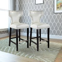 White Bonded Leather Bar Stool (Set of 2) - Kings