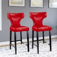 Red Leather Bar Stool (Set of 2) - Kings