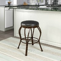 Metal/ Brown Bonded Leather Counter Stool - Jericho