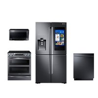 KIT Samsung 4 Piece Kitchen Appliance Package with Electric Range and FamilyHub Refrigerator - Black Stainless Steel