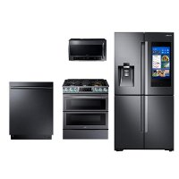 KIT Samsung 4 Piece Kitchen Appliance Package with FamilyHub Refrigerator and Gas Range - Black Stainless Steel