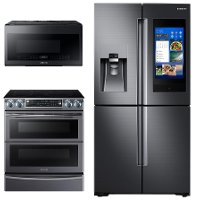 KIT Samsung 3 Piece Kitchen Appliance Package with Electric Range and FamilyHub Refrigerator - Black Stainless Steel