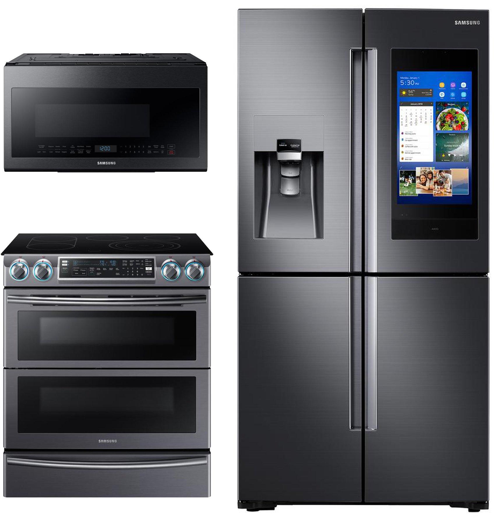samsung black stainless steel 3 piece kitchen appliance package