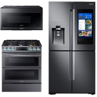 KIT Samsung 3 Piece Kitchen Appliance Package with Gas Range - Black Stainless Steel
